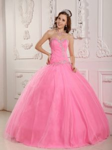 Perfect Appliques Sweetheart Tulle La Quinceanera Dresses in Rose Pink