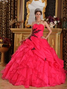 Exquisite Red Quinceanera Dresses Appliques Organza Ruffles in Homer