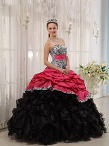 Special Zebra Printed Strapless Quinceanera Party Dresses with Pick-ups