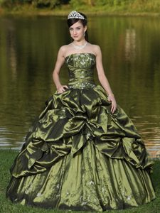Pick ups and Appliques Taffeta Sweet 16 Dresses in Olive Green 2013