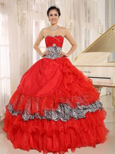 Red Organza Sweetheart Quinceanera Gown Dresses with Zebra Print