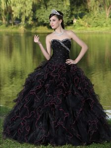 Beading and Puffy Ruffles Accent Black Quinceanera Gown Dresses