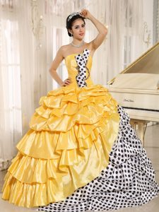 Polka Dots and Taffeta Pick ups Quinceanera Gown Dresses in Gold