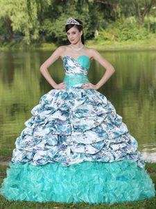 Colorful Sweetheart Pick Ups Printing Sweet 15 Dresses in Mint 2013