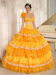 Flowery One Shoulder Orange Organza Sweet 15 Dress with Appliques