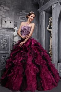 Ruffled Colorful Organza Sweet 15 Dresses with Leopard Printing