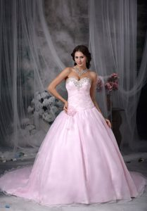 Beaded and Ruched Baby Pink Quinceanera Gowns with Court Train