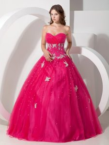Appliqued Tulle Sweetheart Quinceanera Gowns in Coral Red 2013