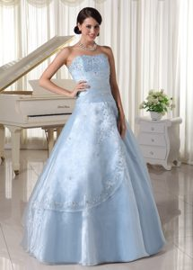 Appliqued Organza Sweetheart Quinceanera Dresses in Light Blue