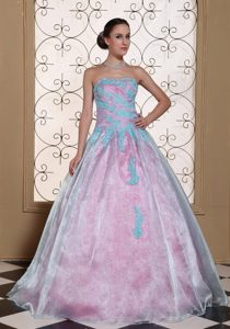 Light Blue Strapless Sweet 15 Dress with Appliques in Organza and Taffeta