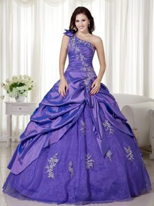 Purple One Shoulder Quinceanera Dress with Appliques in Taffeta and Organza