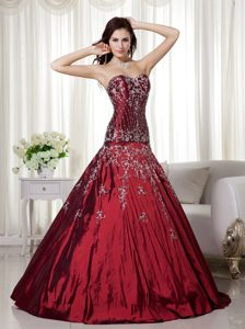 Taffeta Wine Red Sweetheart Quinceanera Dress with Beading and Embroidery