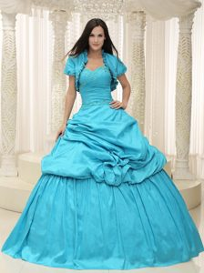 Sweetheart Taffeta Quinceanera Dress with Pick-ups and Embroidery in Teal