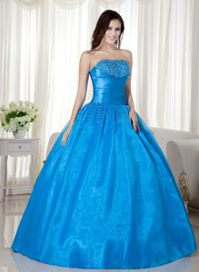 Taffeta and Organza Strapless Quinceanera Dress with Beading in Blue
