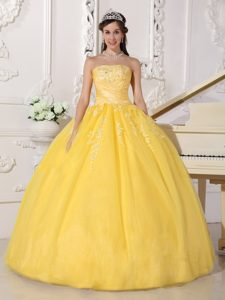 Yellow Strapless Sweet 16 Dress in Taffeta and Tulle with Appliques