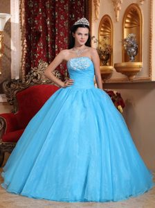 Organza Strapless Baby Blue Quinceanera Dress with Appliques and Beading