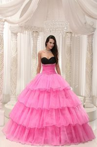 Rose Pink and Black Sweetheart Quinceanera Dress with Ruffles and Beading