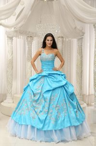 Aqua Blue One Shoulder Sweet 15 Dress with Embroidery and Pick-ups