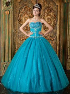 Teal Sweetheart Quinceanera Dress with Beading and Embroidery
