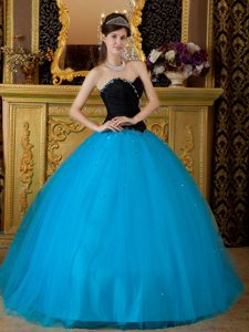 Sweetheart Quinceanera Dress with a Taffeta Black Top and a Tulle Blue Bottom
