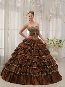 Ruffles Sweetheart Brown Sweet 15 Dress with Leopard Print Fabric
