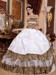 White Strapless Quinceanera Dress with Leopard Print Fabric Layers
