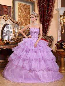 Strapless Lavender Quanceanera Dress with Beading and Ruffles