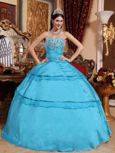 Taffeta Sweetheart Aqua Blue Sweet 16 Dress with Appliques and Organza Layers