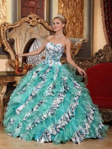 Printed Multi-color Sweetheart Quinceanera Dress with Ruffles