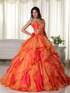 Sweetheart Orange Sweet 16 Dress with Embroidery and Ruffles