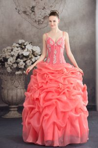 Embroidered Watermelon Sweet 16 Dress with Spaghetti Straps and Pick-ups