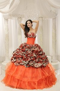 Beaded Organza Quinceanera Dress with Leopard Printed Material