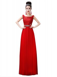 Red Empire Beading and Lace Homecoming Dress Zipper Chiffon Sleeveless Floor Length
