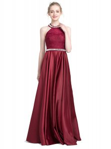 Exceptional Halter Top Floor Length Burgundy Mother Of The Bride Dress Taffeta Sleeveless Beading and Lace