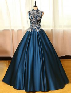 Navy Blue Satin Backless Mother Of The Bride Dress Sleeveless Floor Length Appliques