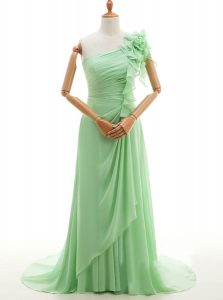 One Shoulder Sleeveless Sweep Train Lace Up With Train Ruffles and Hand Made Flower Dress for Prom