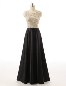 Black Side Zipper Scoop Beading Prom Dress Satin Sleeveless