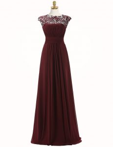 Burgundy Scoop Zipper Appliques Mother Of The Bride Dress Sleeveless