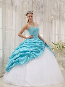 Aqua Blue and White Sweet 15 Dresses with Beading and Pick Ups over Skirt