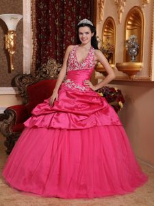 Hot Pink Quinceanera Gown Dress with Halter Top Neck and Appliques