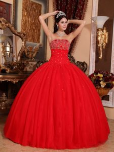 Red Strapless Quinceanera Dress by Tulle with Beaded Decorate Bust