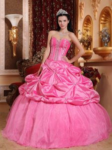 Rose Pink Sweetheart Quince Gown by Taffeta with Beading and Pick Ups