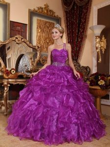 Purple One Shoulder Quinceanera Gown Dress with Beading and Ruffles