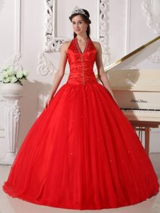 Red V-neck Tulle Quinceanera Dress by Taffeta and Tulle with Beading