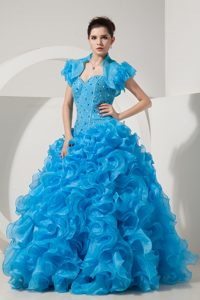 Blue Sweetheart Dress For Quinceanera with Ruffles and Matching Jacket