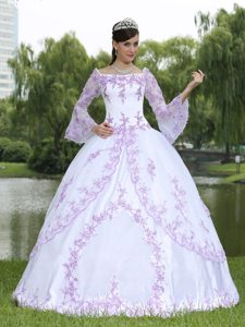 White Sweet 16 Dress with Lilac Embroidery and Long Bell Sleeves for 2013