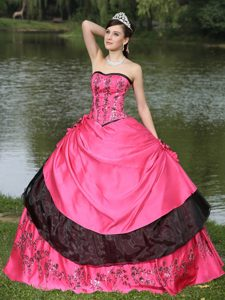 Hot Pink and Black Quince Dress with Embroidery and Hand Made Flowers