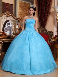 Aqua Blue Strapless Organza Quinceanera Dress with Ruches and Appliques
