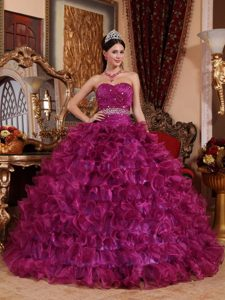 Purple Sweetheart Quinceanera Dress by Organza with Beading and Ruffles