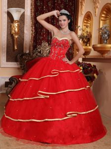 Red Satin and Tulle Quinceanera Gown Dress with Beading and Gold Hemline